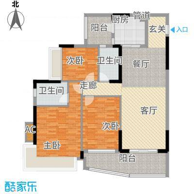 尚湖轩120.00㎡6栋06单位户型图户型3室2厅2卫