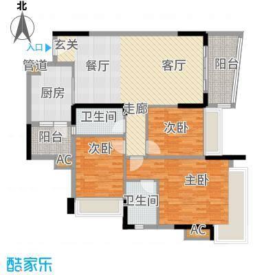 尚湖轩106.00㎡6栋01单位户型图户型3室2厅2卫