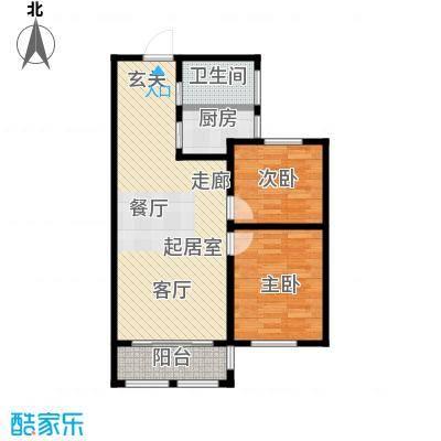滨城美院90.51平米户型2室2厅1卫