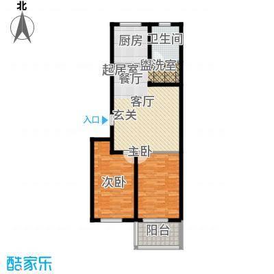 龙凤花园85.00㎡D户型 两室两厅一卫 约85㎡户型2室2厅1卫
