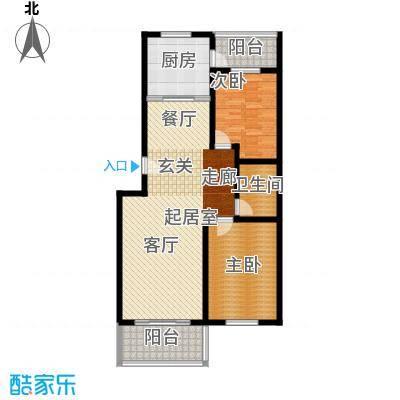 龙凤花园108.00㎡C户型 两室两厅一卫户型2室2厅1卫