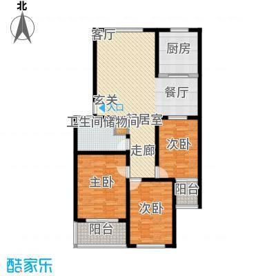 龙凤花园118.00㎡A户型 三室两厅一卫户型3室2厅1卫