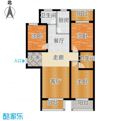 顺平水木清华130.11㎡三室两厅两卫户型3室2厅2卫