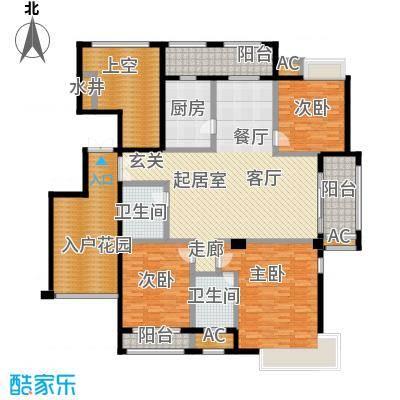 皇马公寓160.00㎡三室二厅二卫户型3室2厅2卫