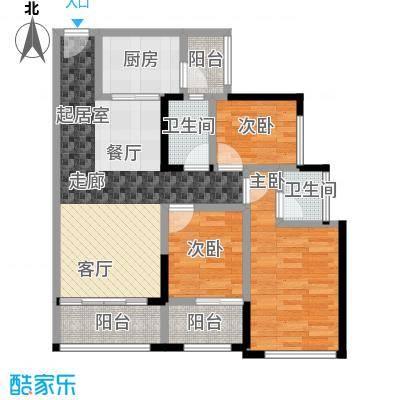 优格国际89.59㎡1栋03户型3室2厅1卫