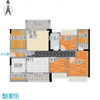 优格国际89.80㎡1栋02户型3室2厅1卫