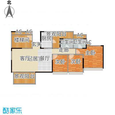 花海湾131.21㎡4栋01单元三房两厅两卫户型3室2厅2卫
