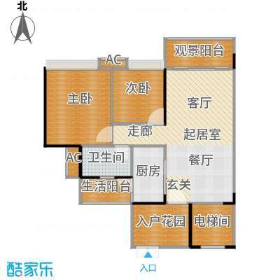 花海湾89.47㎡3栋03单元两房两厅一卫户型2室2厅1卫