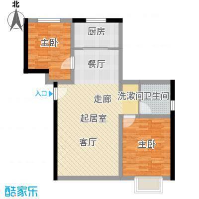 香缇印象86.02㎡惬意生活户型2室2厅1卫