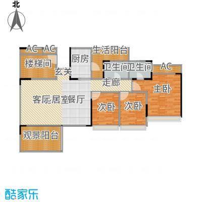 花海湾130.94㎡3栋01单元三房两厅两卫户型3室2厅2卫