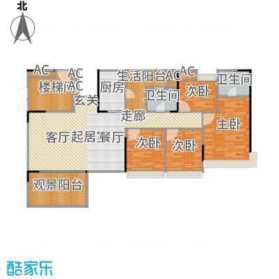 花海湾142.34㎡2栋01单元四房两厅两卫户型4室2厅2卫