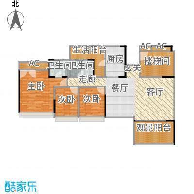 花海湾130.19㎡2栋02单元三房两厅两卫户型3室2厅2卫