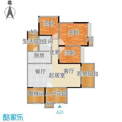 花海湾102.76㎡1栋04单元三房两厅一卫户型3室2厅1卫