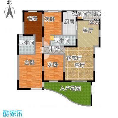 时代中央社区206.00㎡206平米4室2厅2卫1厨户型