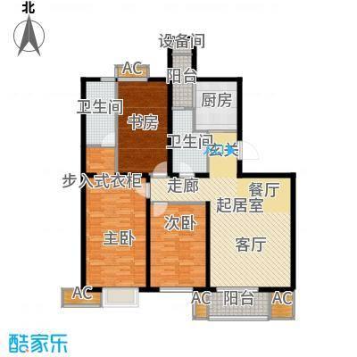 九号国际城130.46㎡C3三室两厅两卫户型