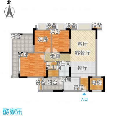 滨江一号107.00㎡D户型01单元:香榭丽舍1、2、3栋户型3室2厅2卫