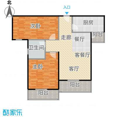 汉武国际城93.00㎡H户型 2室2厅1卫户型2室2厅1卫