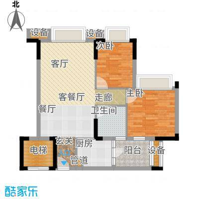 滨江一号83.00㎡D户型03单元:香榭丽舍1、2、3栋户型2室2厅1卫