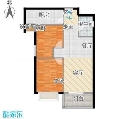 源盛嘉禾C区86.28㎡F户型两室一厅一卫户型2室1厅1卫