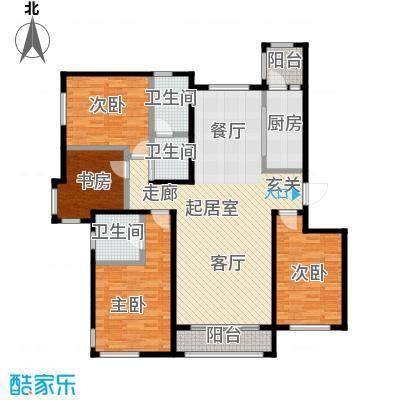 亿利城滨河湾户型4室3卫1厨