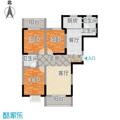 澳达玫瑰园129.00㎡2号楼东1单元西户户型3室2厅2卫