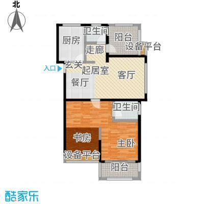望虞花园95.47㎡2-6#小高层公寓标准层户型2室2厅2卫