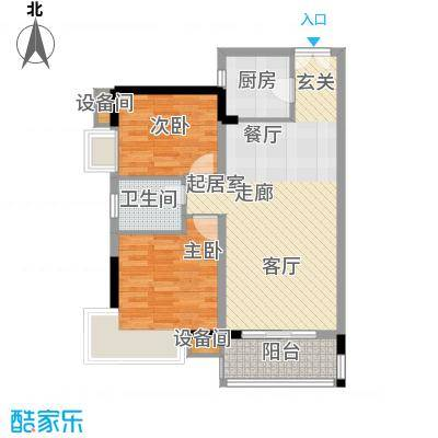 水墨林溪82.28㎡A2户型4-6号楼2-11层二房二厅一卫户型