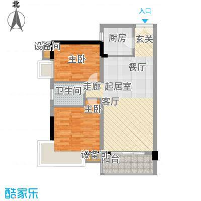 水墨林溪80.99㎡B4户型7号楼03-04号两房两厅一卫户型2室2厅1卫