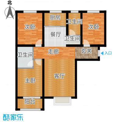 顺平水木清华114.96㎡三室两厅两卫户型3室2厅2卫