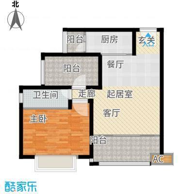 龙光天悦龙庭75.80㎡F1户型1室2厅1卫-T