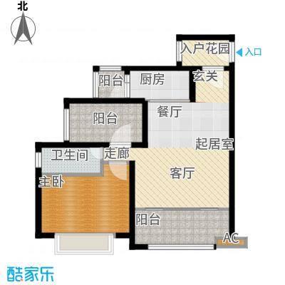 龙光天悦龙庭75.45㎡F2户型1室2厅1卫-T