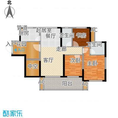 建大领秀城99.00㎡8栋02单元户型图户型3室2厅2卫