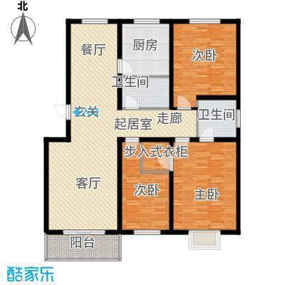 怡园教师花园141.39㎡文号型2号楼 三卧两厅一厨两卫一阳台户型