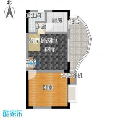 蓝湾星宸花园43.70㎡C3户型1室1厅1卫户型1室1厅1卫