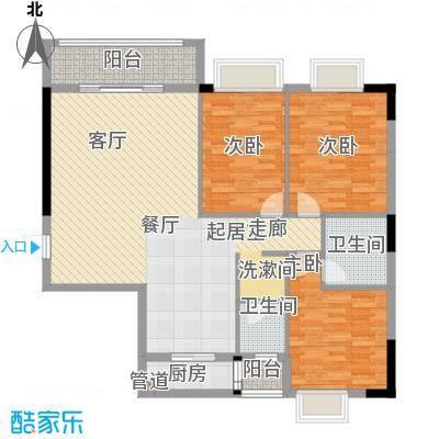 兴湘时代家园124.47㎡户型单张1栋b02三房两厅两卫户型3室2厅2卫