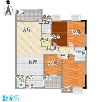 兴湘时代家园134.00㎡户型单张1栋01四房两厅两卫134平米户型4室2厅2卫