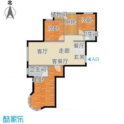 特变水木融城四期户型3室1厅2卫1厨