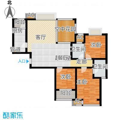 新华联广场130.00㎡C-2户型3室2厅2卫户型3室2厅2卫
