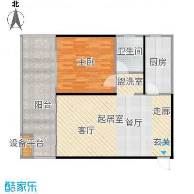 中和龙沐湾・海润源66.55㎡A3户型1室2厅1卫