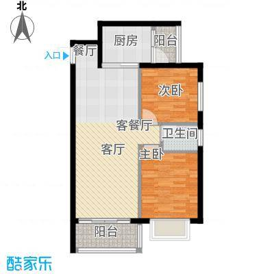 花香四季雅苑75.55㎡75.55平米两房两厅一卫户型2室2厅1卫