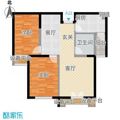 泽天下89.00㎡二期12、18号楼标准层B1户型2室2厅1卫