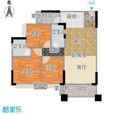 贝迪豪庭96.00㎡13栋03单位户型3室2厅2卫