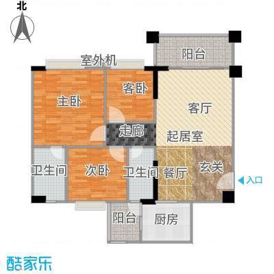 贝迪豪庭106.09㎡1、2栋02单位户型3室2厅2卫
