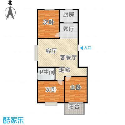 向阳雅园100.00㎡三室二厅一卫户型3室2厅1卫