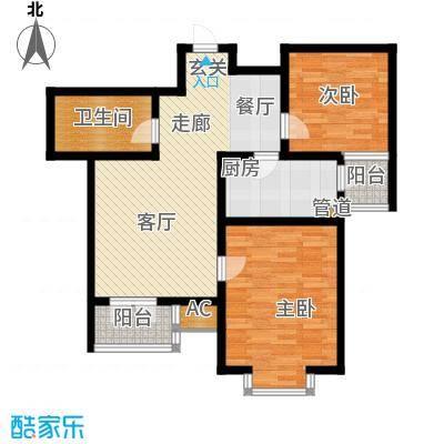 长瀛御龙湾两室两厅一卫 86.54平米户型