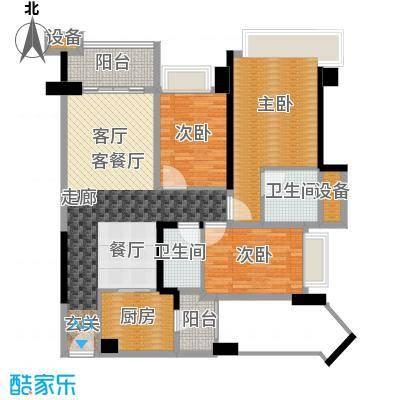 雅居乐铂爵山115.75㎡04户型3室2厅2卫