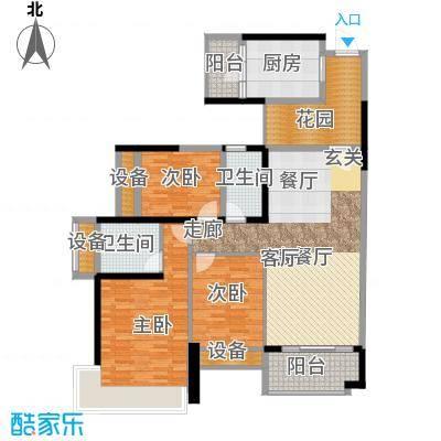 雅居乐铂爵山130.00㎡130平米三房户型3室2厅2卫