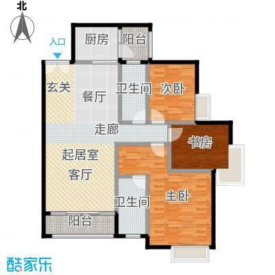 锦江国际新城123.00㎡5/6栋03单元户型3室2厅2卫
