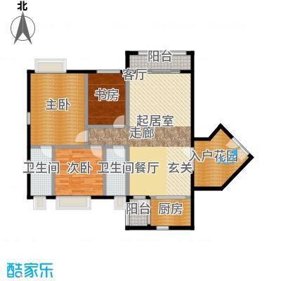 锦江国际新城122.00㎡5/6栋01单元户型3室2厅2卫