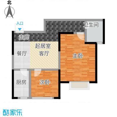 益华御才湾80.00㎡E4两室两厅一卫户型2室2厅1卫